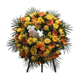Coroa de Funeral laranja e amarelo