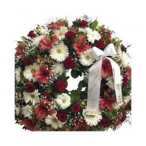 Coroa de funeral vermelhos