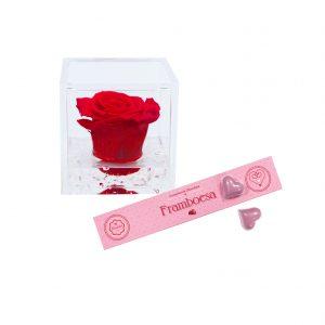 FlowerCube + Corações com Recheio de Framboesa 140grs