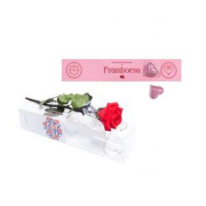 Rosa no Tubo + Corações com Recheio de Framboesa