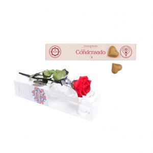 Rosa no Tubo + Corações com Recheio de Leite Condensado
