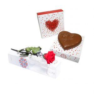 Flores e Chocolate Coração - Chocolate de Leite - Rosa no TuboFlores e Chocolate Coração - Chocolate de Leite - Rosa no Tubo