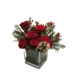 Cubo com 7 Rosas Vermelho